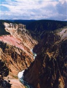 Travel tip to see Yellowstone River Canyon and Lower Falls of Yellowstone River near Livingston, Montana.