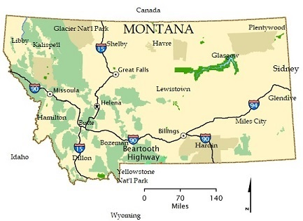 General Map of Montana